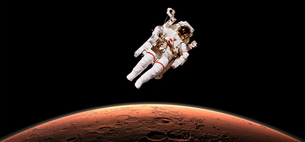 Astronaut in outer space over planet Mars. Elements of the image are furnished by NASA; Shutterstock ID 326426018; WBS-nr: N195001506; Lesmethode: Humboldt actualiteit; Traffic manager: Renske de Bruin